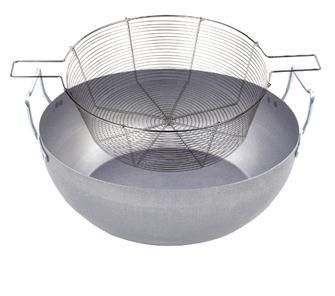 Frittierpfanne aus Stahl, 30 cm, mit Frittierkorb aus verzinntem Stahl