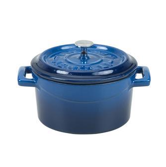 Kleiner gusseiserner Schmortopf 14cm, blau