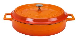Flacher runder Schmortopf 28cm, orange