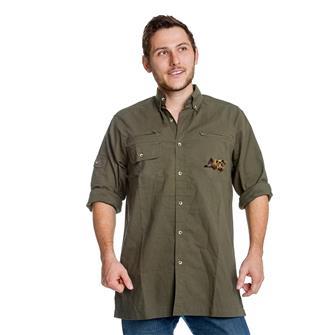 Chemise homme broderie 2 têtes de sangliers Bartavel Hunter kaki XL