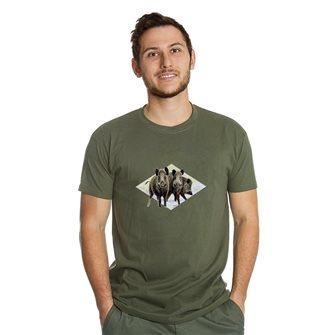 Tee shirt homme Bartavel Nature kaki sérigraphie 3 sangliers M