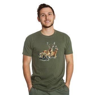 Tee shirt Bartavel Nature kaki sérigraphie 1 sanglier 1 cerf et 1 chevreuil L