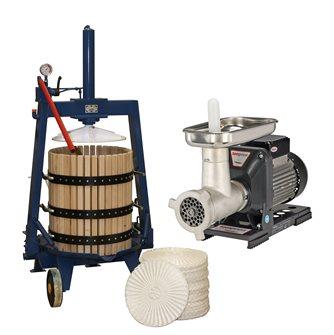 Set für die Ölherstellung mit einer hydraulischen Presse