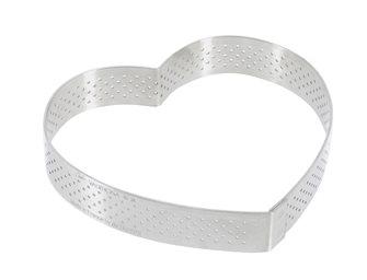 Cercle forme cœur inox 12 cm perforé  bord droit deux parts