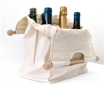 Sac porte bouteille en coton avec poignées bois fabriqué en France pour 6 bouteilles de vin eau jus soda